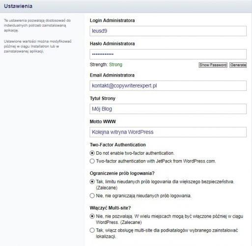 Instalacja wordpress - Ustawienia aplikacji WordPress na naszej stronie www w Direct Admin