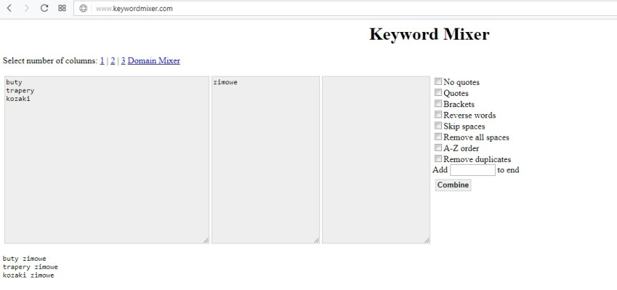 Jak dobrać słowa kluczowe przez keyword mixer