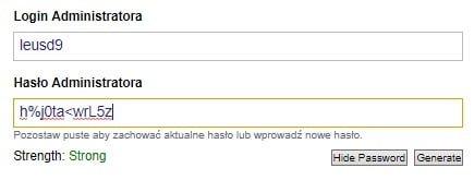 ustawianie loginu i hasła dla WordPressa w Direct Admin