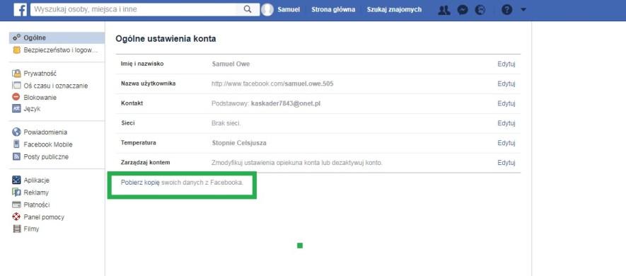 Pobierz kopię swoich danych z facebooka