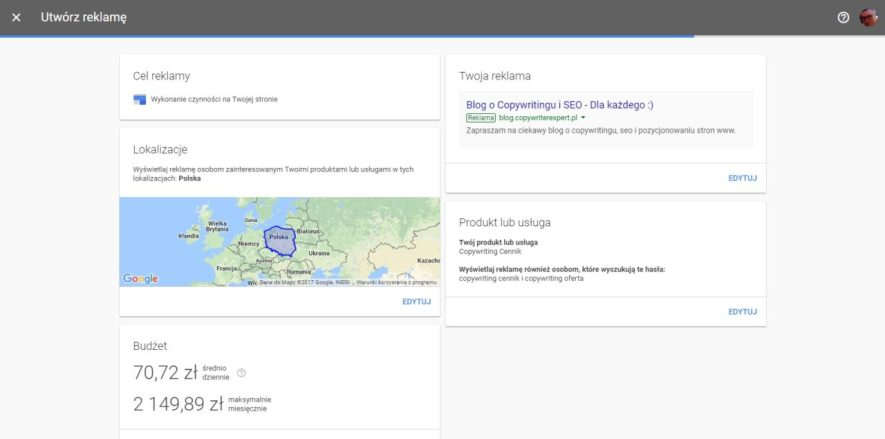 Utworzenie reklamy w Google Adwords Express - sprawdzamy ustawienia reklamy cz. 11