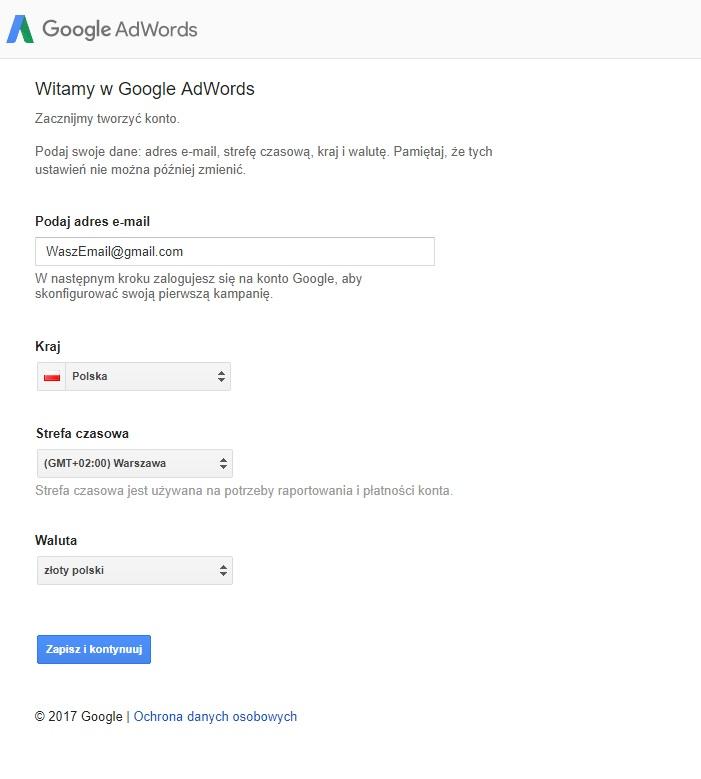 Założenie konta Adwords część 3 formularz