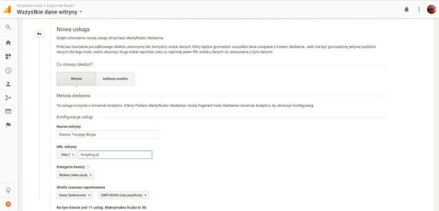 Dodanie bloga do google analytics nowa usługa