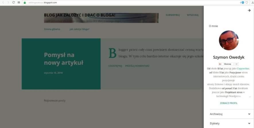 jak założyć bloga na blogspot - ustawienie stron widgetu o mnie część 3
