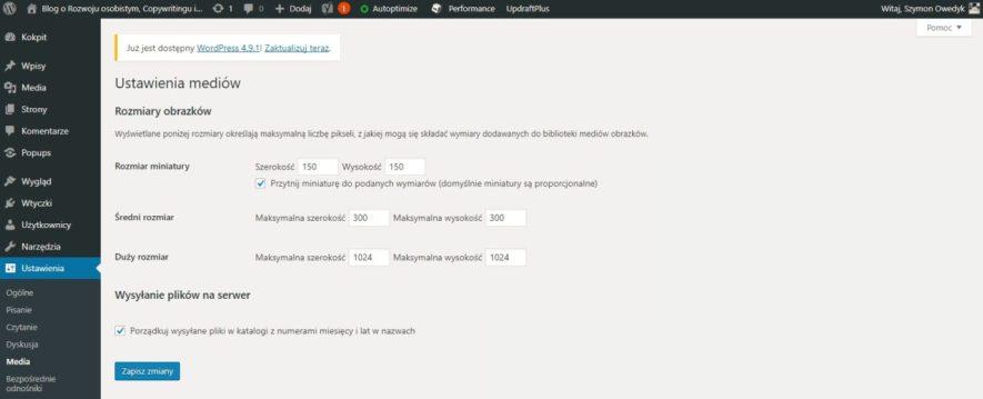 zakładanie i prowadzenie bloga WordPress - zakładka Media w WordPressie