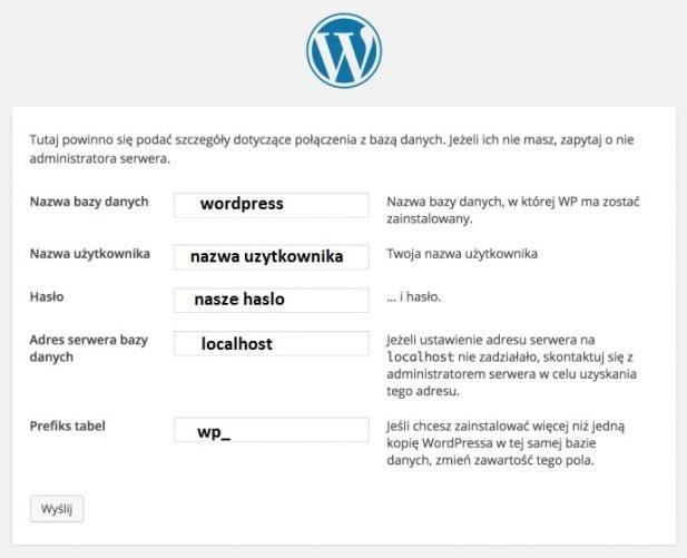 wordpress instalacja bloga dane bazy danych