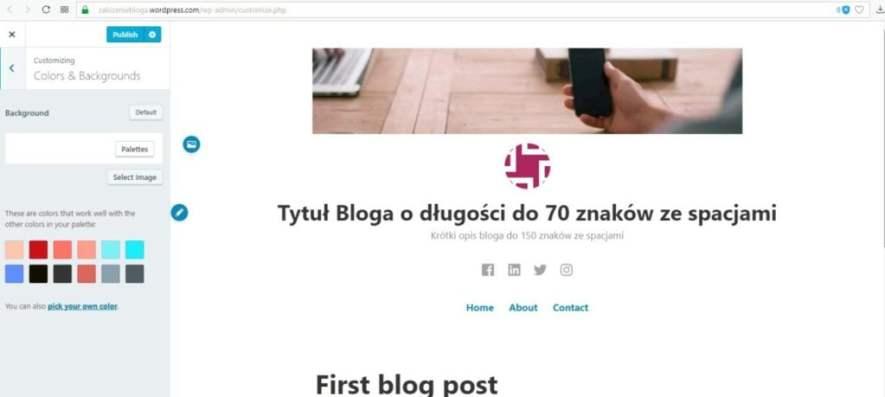 założenie bloga na wordpress.com - ustawienia kolorów i tła