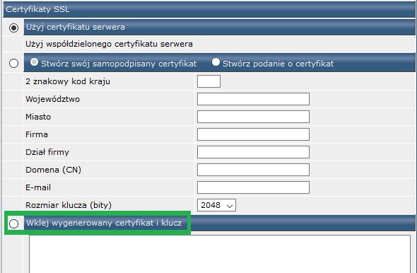 Instalacja certyfikatu SSL w Direct Admin - wklejanie klucza i certyfikatu
