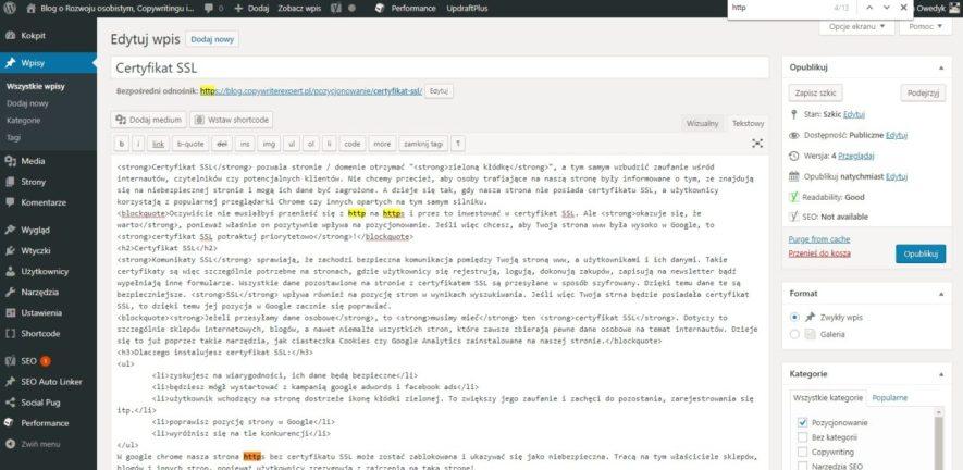 certyfikat ssl w WordPressie instalacja i ustawienia