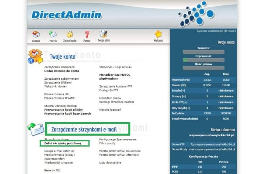 własna poczta email na swoim hostingu w Direct Admin