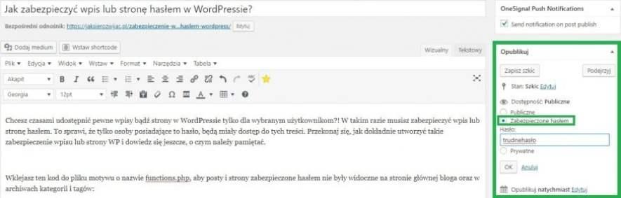 ustalenie hasła dla wpisu lub strony wordpress