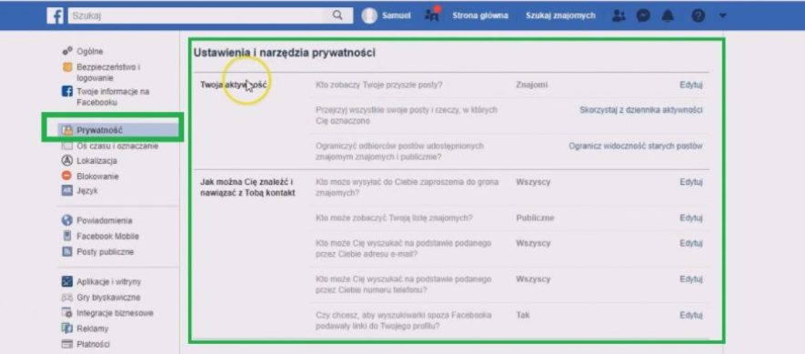 jak ustawić konto na facebooku - ustawienia prywatności na fb