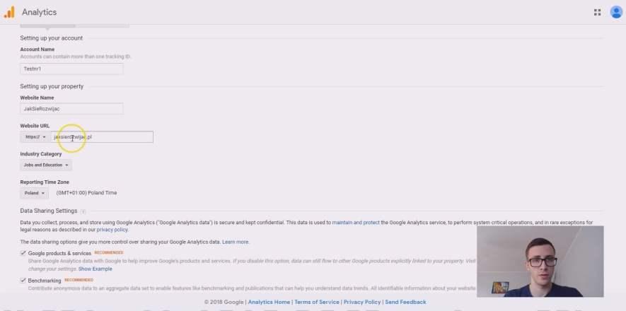 Formularz założenia konta Google Analytics