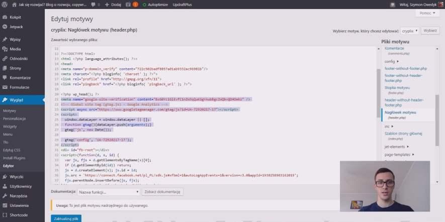 ustawienia Google Analytics na stronie WordPress
