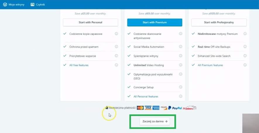 zainstaluj wtyczkę JetPack WordPress - wybór planu darmowego