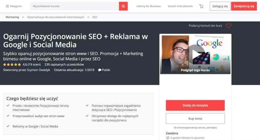 Kurs Ogarnij SEO i Pozycjonowanie stron www