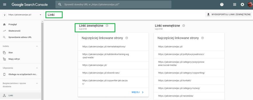Zdobywanie linków SEO - sprawdzanie linków zewnętrznych w Google Search Console