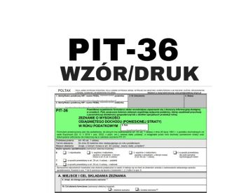 PIT 36 PDF - druk wzór - dla prowadzących działalność gospodarczą