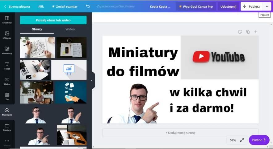 Miniatura YouTube przygotowana w programie CANVA