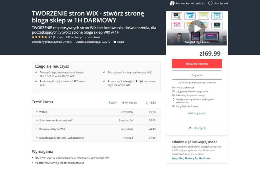 kurs online tworzenie stron WIX stwórz stronę bloga i sklep internetowy