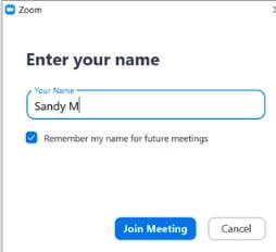 wprowadź swoje imię w aplikacji Zoom dołączając do spotkania