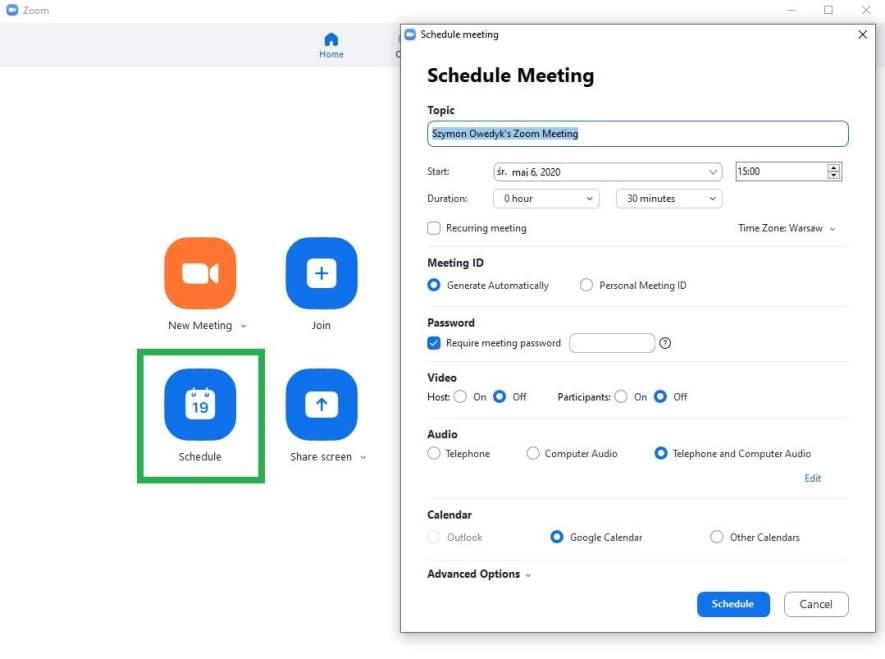 planowanie spotkania w aplikacji Zoom