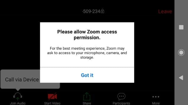 zgoda na korzystanie z mikrofonu kamery i pamięci w aplikacji Zoom