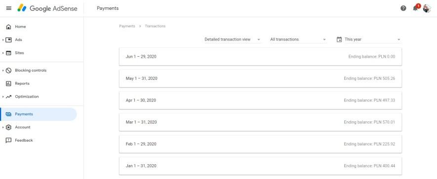 dochody z reklam Google Adsense na kanale YouTube