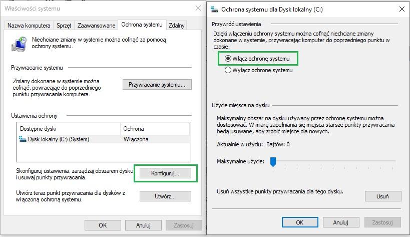 włączenie ochrony systemu i punktów przywracania systemu Windows