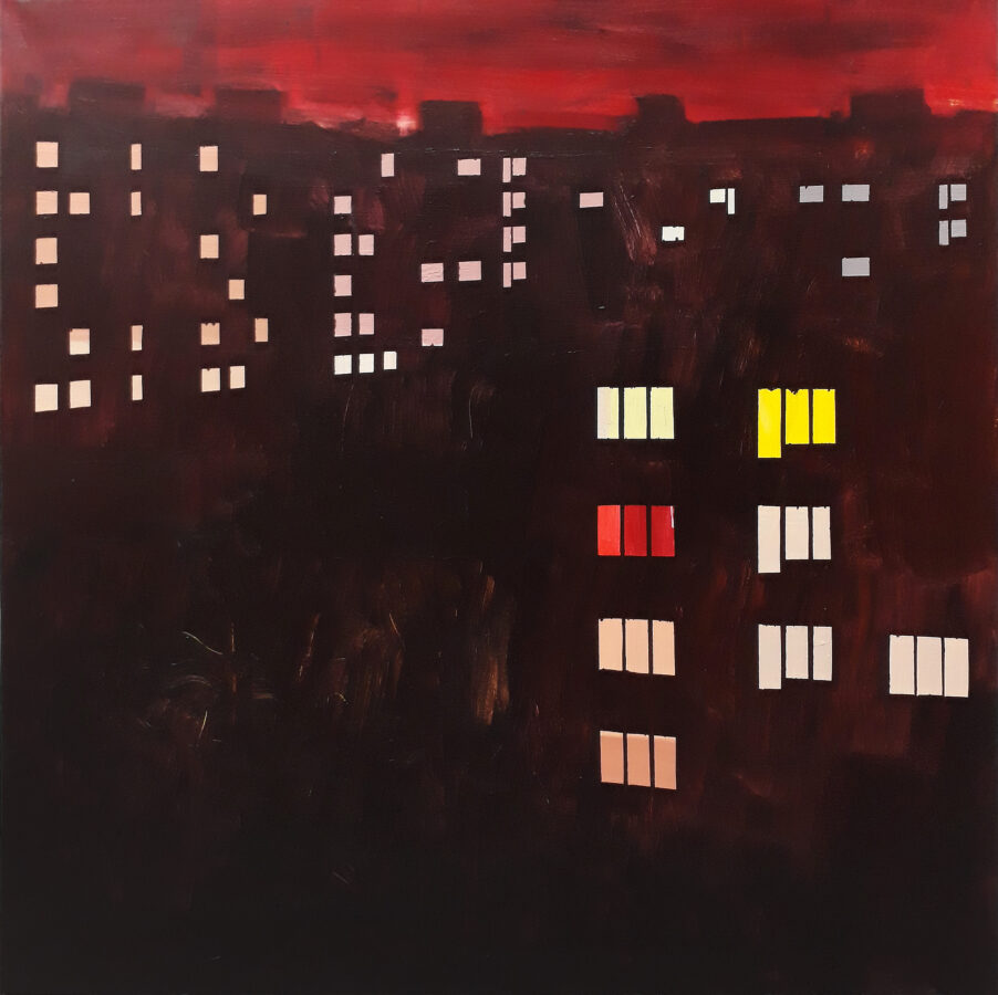 televizní čas / TV time, 90x90 cm, akryl na plátně / acrylic on canvas, 2019