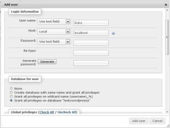 Tworzenie użytkownika bazy danych | Instalacja wordpressa na serwerze lokalnym