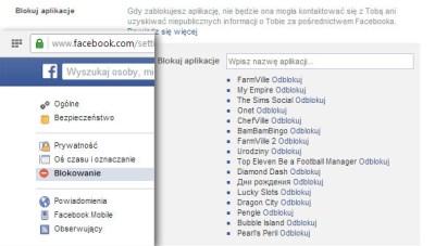 Blokada aplikacji na Facebooku