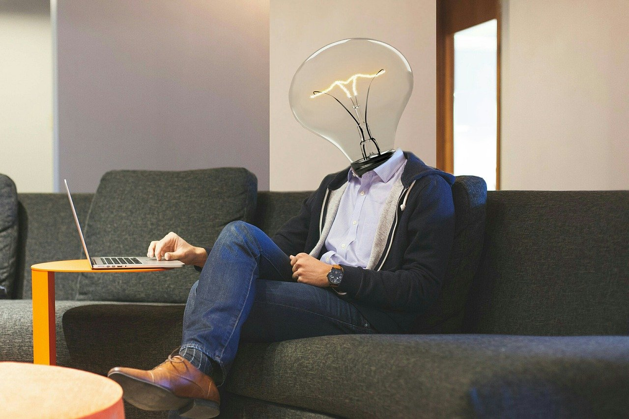 lightbulb, workplace, laptop