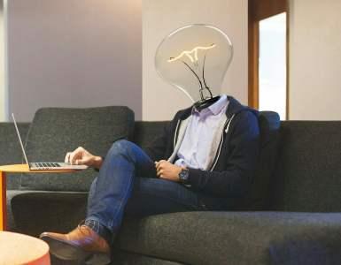 lightbulb, workplace, laptop