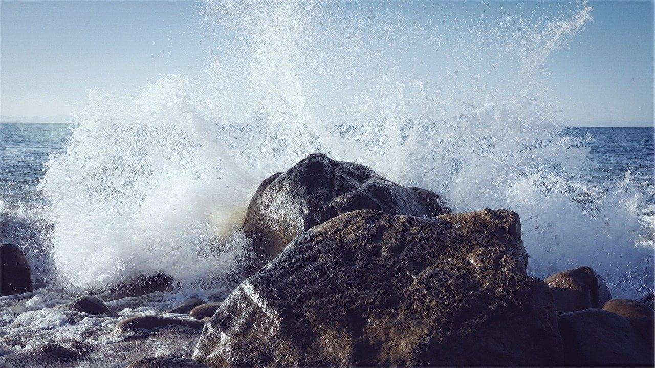 wave, rock, spray