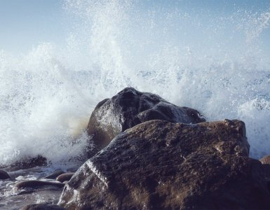 wave, rock, spray