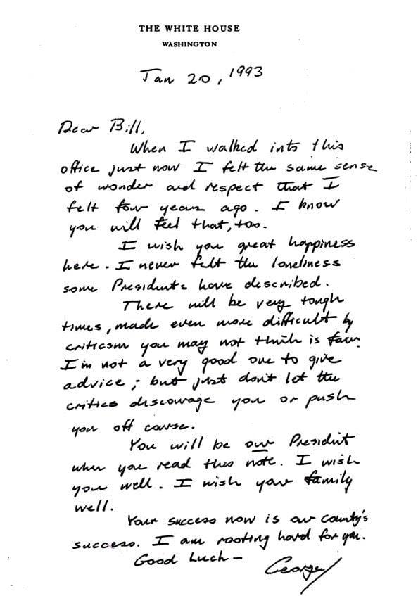 Carta de Bush a Clinton