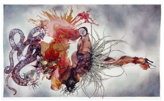Non je ne regrette rien, 2007 Ink, paint, mixed media, plant material and plastic pearls on Mylar 54 x 87 inches Courtesy of the artist and Victoria Miro Gallery