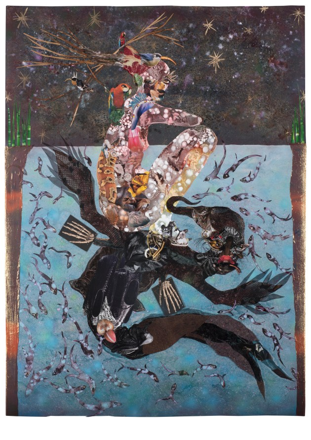 Beneath lies the Power, 2014 Collage painting on vinyl Unframed: 212.1 x 156.2 cm 831/2x611/2in Framed: 226.5 x 171.5 x 7.3 cm