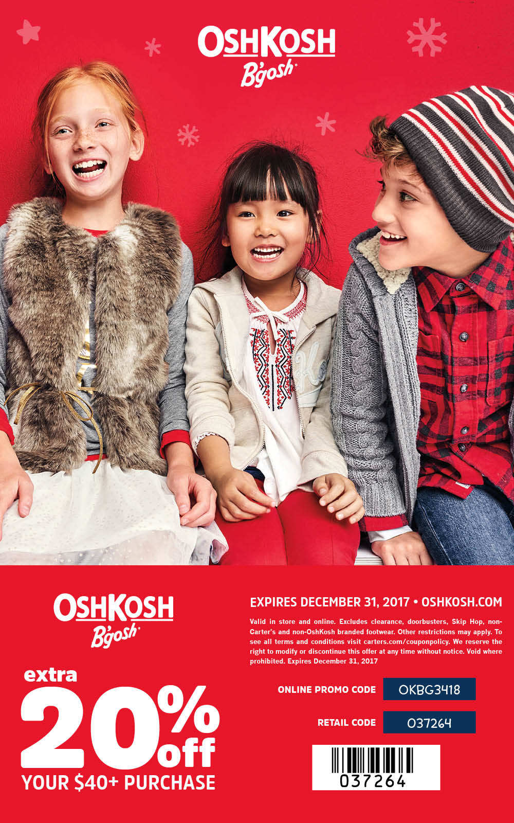OshKosh Holiday Coupon 2017