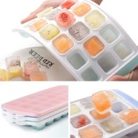 Ice Cube Trays 3 Packs Flexible Silicone Ice Trays with Spill-Resistant Lids Easy Release Ice Tra...