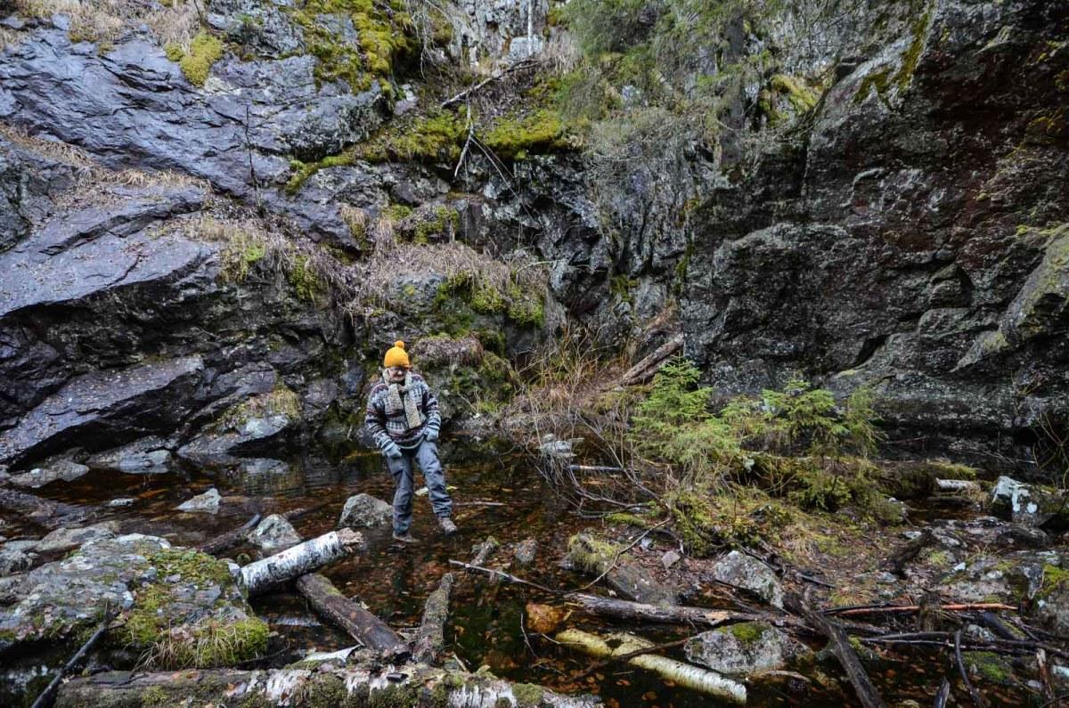 Upe ylittää Hitonhaudan lammikkoa. Kuva: Pia Chydenius.