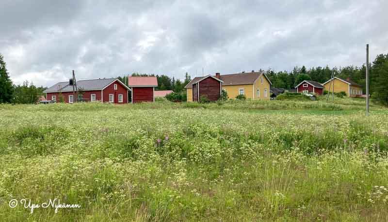 Usean vanhan maalaistalon muodostama pihapiiri, rakennukset punaisia ja keltaisia.