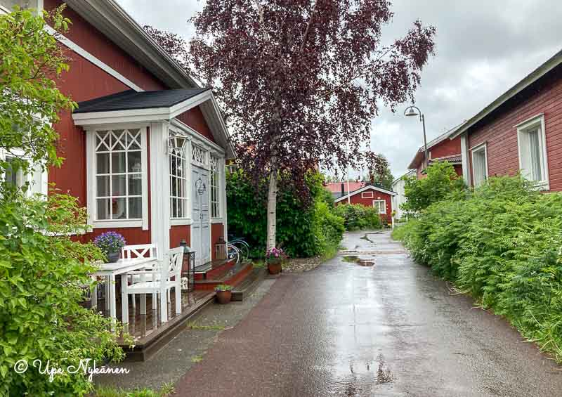 Iin wanhan haminan kapea puutarhamainen katu, jonka varressa punaiseksi maalattuja vanhoja taloja.