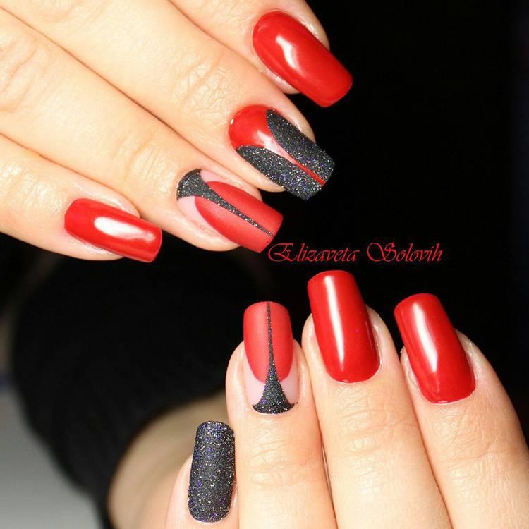 дизайн ногтей красный с черным 7