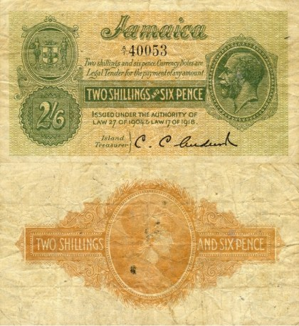 Jamaican 2/6 Shillings Bank Note