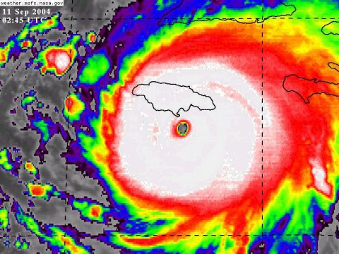 The eye of Hurricane Ivan, located approximately 40 km of the island, keeping just off the southern coastline.