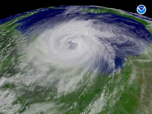 Satellite Image of a fully formed hurricane.
