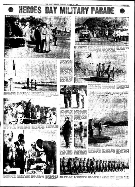 Page 15 of the Daily Gleaner, Tuesday, October 21 1969 featuring photos from the military parade held at Up Park Camp.