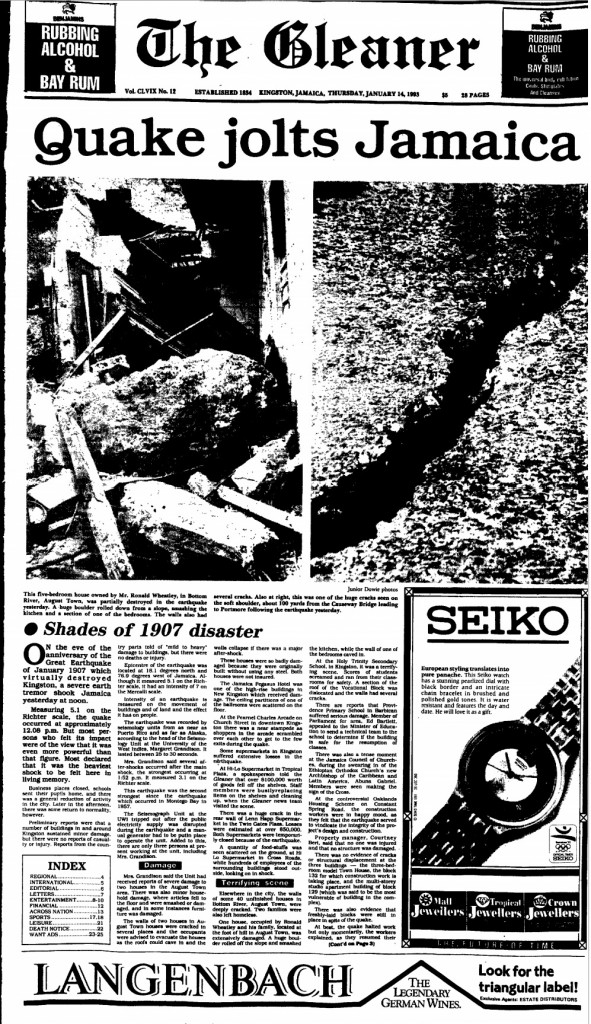 Front page of the Gleaner, Thursday, January 14, 1993.